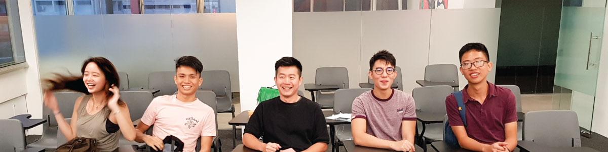 Jack Ng with students at Achevas H2 Math Tuition Center